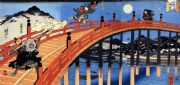 Vintage Japanese poster - Samurai battle on a bridge